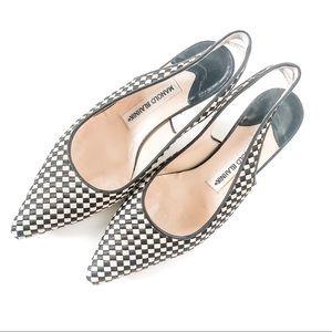 MANOLO BLAHNIK Checkered Slingback Kitten Heel 7.5